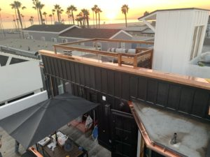 example of our beautiful custom copper rain gutters installed near the beach